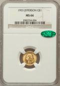 Commemorative Gold, 1903 G$1 Louisiana Purchase/Jefferson MS66 NGC. CAC....