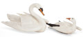 Sculpture, PAIR OF CARVED AND PAINTED WOOD MUTE SWAN AND SNOW GOOSE DECOYS. Modern. Swan: 19 x 23 x 32 inches. Cygnet: 11.5 x 15.5 x 22... (Total: 2 Items)