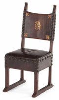 Furniture , A SPANISH LEATHER TOOLED WALNUT CHAIR. 19th century. 40 x 17-1/2 x 19 inches (101.6 x 44.5 x 48.3 cm). The Elton M. Hyder,...