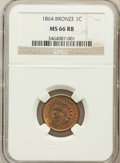 Indian Cents: , 1864 1C Bronze No L MS66 Red and Brown NGC. NGC Census: (136/10).PCGS Population (25/0). Mintage: 39,233,712. Numismedia W...