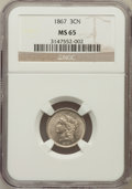 Three Cent Nickels: , 1867 3CN MS65 NGC. NGC Census: (34/12). PCGS Population (46/11).Mintage: 3,915,000. Numismedia Wsl. Price for problem free...