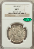 Barber Half Dollars: , 1909-S 50C AU53 NGC. CAC. NGC Census: (1/61). PCGS Population(3/95). Mintage: 1,764,000. Numismedia Wsl. Price for problem...