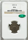 Proof Shield Nickels: , 1878 5C PR6 NGC. CAC. NGC Census: (1/545). PCGS Population (0/773).Mintage: 2,350. Numismedia Wsl. Price for problem free ...