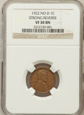 Lincoln Cents, 1922 No D 1C Strong Reverse VF30 Brown NGC. PCGS Population(561/1391). Numismedia Wsl. Price for probl...