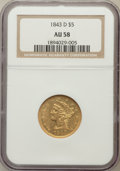 Liberty Half Eagles: , 1843-D $5 Medium D AU58 NGC. NGC Census: (25/16). PCGS Population(7/10). Mintage: 98,452. Numismedia Wsl. Price for proble...