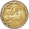 Betts Medals, Betts-12 Variant. 1581 (1560) West Indies Commerce. Silver, gilt,cast with frame. VF....