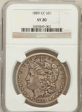 Morgan Dollars: , 1889-CC $1 VF20 NGC. NGC Census: (231/2255). PCGS Population(346/3315). Mintage: 350,000. Numismedia Wsl. Price for proble...