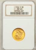 Liberty Half Eagles: , 1902-S $5 MS66 NGC. NGC Census: (27/9). PCGS Population (25/4).Mintage: 939,000. Numismedia Wsl. Price for problem free NG...