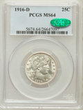 Barber Quarters: , 1916-D 25C MS64 PCGS. CAC. PCGS Population (505/427). NGC Census:(408/230). Mintage: 6,540,800. Numismedia Wsl. Price for ...