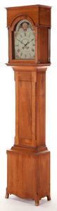 , AN AMERICAN FEDERAL WALNUT TALLCASE CLOCK. George Woltz,Hagerstown, 19th century. 91-1/2 x 19-1/4 x 13 inches (232.4 x48.9...