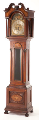AN AMERICAN INLAID MAHOGANY TALLCASE CLOCK 20th century 96-3/4 x 21-3/4 x 14-3/4 inches (245.7 x 55.2 x 37.5 cm