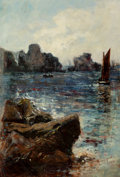 Fine Art - Painting, European, MASON HUNTER (British, 1854-1921). Rocky Cove, 1882. Oil oncanvas. 12-3/4 x 8-3/4 inches (32.4 x 22.2 cm). Signed and d...