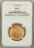Indian Eagles: , 1914-D $10 MS62 NGC. NGC Census: (684/426). PCGS Population(705/582). Mintage: 343,500. Numismedia Wsl. Price for problem ...