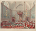 Fine Art - Work on Paper:Print, AUGUSTUS CHARLES PUGIN (French, 1762-1832). House of Lords, January 1, 1809. Engraving and aquatint. 9 x 10-3/4 inches (...