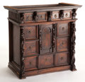 Furniture , A GENOESE RENAISSANCE WALNUT CABINET. 16th century. 22-3/4 inches x 23-3/4 inches x 14 inches (57.8 x 60.3 x 35.6 cm). The...