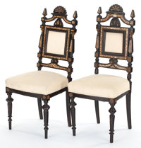TWO ITALIAN RENAISSANCE REVIVAL EBONIZED WOOD, MOTHER-OF-PEARL AND GILT METAL SIDE CHAIRS Circa 1890 41 x 18 x