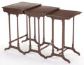 Furniture , A SET OF THREE MAHOGANY AND LEATHER NESTING TABLES . Circa 1900. 25-1/4 inches high x 18 inches wide x 14 inches deep (64.1 ...