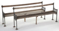 Furniture , A PAIR OF CAST IRON AND WOOD BENCHES . Circa 1875. 34-1/4 inches high x 29-1/2 inches long x 16 inches deep (87.0 x 74.9 x 4... (Total: 2 Items)