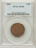 Half Cents: , 1832 1/2 C XF45 PCGS. PCGS Population (55/291). NGC Census:(32/475). Mintage: 154,000. Numismedia Wsl. Price for problem f...