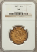 Liberty Eagles, 1865-S $10 Fine 12 NGC....
