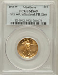 Errors, 1999-W G$10 Quarter-Ounce Gold Eagle STK W/Unfinished PR Dies MS69PCGS. PCGS Population (1214/1). NGC Census: (1199/21). ...