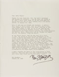 Autographs:Authors, Ray Bradbury. Typed Letter Signed. To a noted book dealer, James Pepper, and with wonderful content. Two horizontal creases....