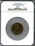 Assay Medals, 1927 U.S. Assay Medal, Bronze MS65 NGC. JK-AC-71....