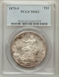 Trade Dollars: , 1875-S T$1 MS62 PCGS. PCGS Population (202/504). NGC Census:(180/391). Mintage: 4,487,000. Numismedia Wsl. Price for probl...