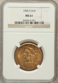 Liberty Eagles: , 1905-S $10 MS61 NGC. NGC Census: (82/30). PCGS Population (37/53).Mintage: 369,250. Numismedia Wsl. Price for problem free...