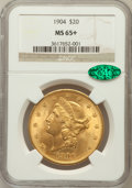 Liberty Double Eagles, 1904 $20 MS65+ NGC. CAC. NGC Census: (6386/235). PCGS Population(4153/147). Mintage: 6,256,797. Numismedia Wsl. Price for ...