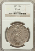 Seated Dollars: , 1872 $1 XF45 NGC. NGC Census: (57/236). PCGS Population (70/280).Mintage: 1,106,450. Numismedia Wsl. Price for problem fre...