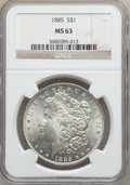 """Morgan Dollars, (2)1885 $1 MS63 NGC. The current Coin Dealer Newsletter (Greysheet)wholesale """"bid"""" price is ... (Total: 2 coins)"""
