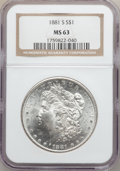 "Morgan Dollars, (3)1881-S $1 MS63 NGC. The current Coin Dealer Newsletter(Greysheet) wholesale ""bid"" price i... (Total: 3 coins)"