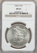 """Morgan Dollars, (3)1904-O $1 MS63 NGC. The current Coin Dealer Newsletter(Greysheet) wholesale """"bid"""" price i... (Total: 3 coins)"""