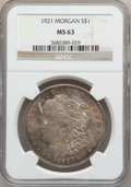 """Morgan Dollars, (4)1921 $1 MS63 NGC. The current Coin Dealer Newsletter (Greysheet)wholesale """"bid"""" price is ... (Total: 4 coins)"""