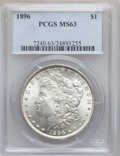 Morgan Dollars, 1896 $1 MS63 PCGS and 1896 $1 MS63 NGC. The current Coin DealerNewsletter (Greysheet) ... (Total: 2 coins)