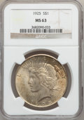 """Peace Dollars, (2)1925 $1 MS63 NGC. The current Coin Dealer Newsletter (Greysheet)wholesale """"bid"""" price is ... (Total: 2 coins)"""