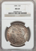 "Morgan Dollars, (2)1896 $1 MS64 NGC. The current Coin Dealer Newsletter (Greysheet)wholesale ""bid"" price is ... (Total: 2 coins)"