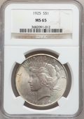 """Peace Dollars, (2)1925 $1 MS65 NGC. The current Coin Dealer Newsletter (Greysheet)wholesale """"bid"""" price is ... (Total: 2 coins)"""