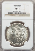 Morgan Dollars: , 1882-S $1 MS64 NGC. NGC Census: (28001/25594). PCGS Population(28783/21720). Mintage: 9,250,000. Numismedia Wsl. Price for...