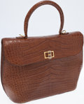Luxury Accessories:Bags, Swarovski Brown Pressed Leather Top Handle Bag with Shoulder Strap....