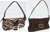 Set of Two; Fendi Zebra Ponyhair Baguette Shoulder Bag and Classic Monogram Zucca Canvas Shoulder Bag