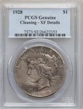 Peace Dollars: , 1928 $1 -- Cleaned -- PCGS Genuine. XF Details. NGC Census:(48/5743). PCGS Population (98/7798). Mintage: 360,649. Numisme...