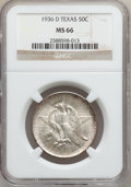 Commemorative Silver: , 1936-D 50C Texas MS66 NGC. NGC Census: (691/266). PCGS Population(923/325). Mintage: 9,039. Numismedia Wsl. Price for prob...