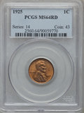 Lincoln Cents: , 1925 1C MS64 Red PCGS. PCGS Population (382/910). NGC Census:(157/308). Mintage: 139,948,992. Numismedia Wsl. Price for pr...