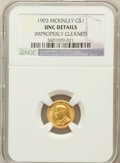 Commemorative Gold: , 1903 G$1 Louisiana Purchase/McKinley -- Improperly Cleaned -- NGCDetails. UNC. NGC Census: (9/1968). PCGS Population (...