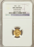 Gold Dollars: , 1851 G$1 -- Improperly Cleaned -- NGC Details. UNC Details. NGCCensus: (91/3234). PCGS Population (74/1655). Mintage: 3,31...