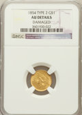 Gold Dollars: , 1854 G$1 Type Two -- Damage -- NGC Details. AU. NGC Census:(207/5037). PCGS Population (369/2586). Mintage: 783,943. N...
