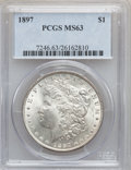 Morgan Dollars: , 1897 $1 MS63 PCGS. PCGS Population (4798/6634). NGC Census:(4195/7524). Mintage: 2,822,731. Numismedia Wsl. Price for prob...