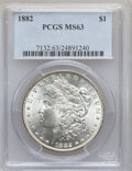 """Morgan Dollars, (2)1882 $1 MS63 PCGS. The current Coin Dealer Newsletter(Greysheet) wholesale """"bid"""" price is... (Total: 2 coins)"""